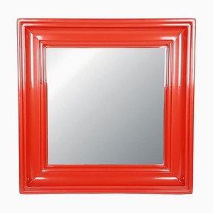 Espejo de pared de plástico rojo, años 70