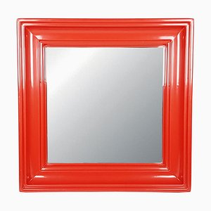 Red Plastic Wall Mirror, 1970s