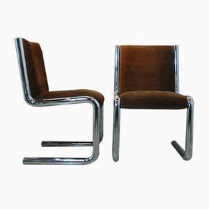 Space Age German Chrome & Velour Armchairs, 1970s, Set of 4