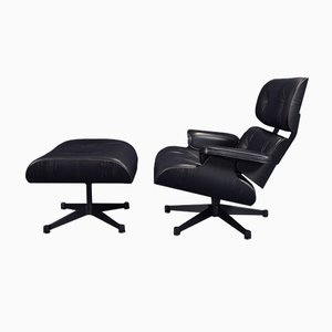 Black Lounge Chair & Ottoman Set by Charles Eames for Vitra, 2000s