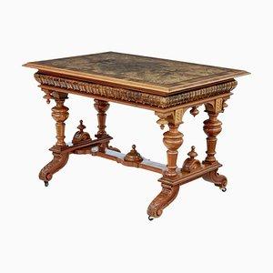 Table de Bibliothèque Antique en Loupe de Noyer