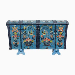 Antique Swedish Oak Hand-Painted Dome Top Trunk