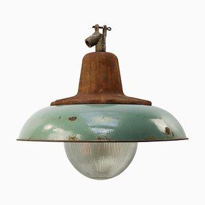 Lampe à Suspension Vintage en Fonte et Verre de Holophane, 1950s