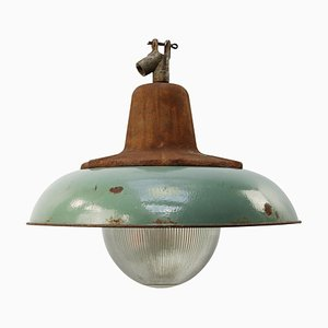 Vintage Cast Iron and Glass Pendant Lamp from Holophane, 1950s