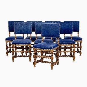 Antike Esszimmerstühle aus blauem Samt und Eiche, 8er Set
