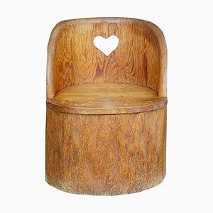 Großer antiker rustikaler Stuhl aus Pinienholz
