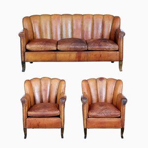Vintage Art Deco Leather 3-Piece Living Room Set