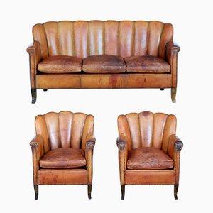 Vintage Art Deco Leather 3-Piece Living Room Set