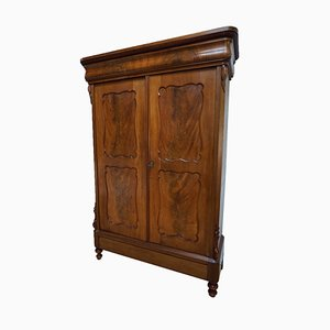 Antique Dutch Biedermeier Mahogany Linen Armoire