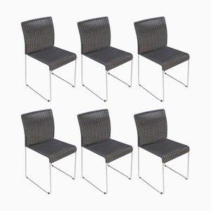 Chaises de Salon en Métal et Corde Noire, 1960s, Set de 6