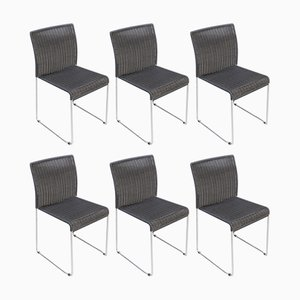 Metal and Black Paper Cord Dining Chairs, 1960s, Set of 6