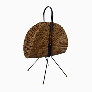Italian Wicker & Iron Magazine Rack, 1960s