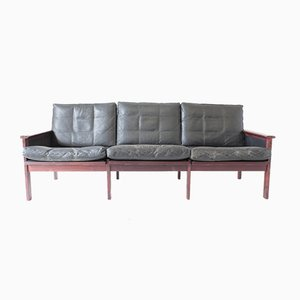 Mid-Century Danish Leather & Rosewood 3-Seater Capella Sofa by Illum Wikkelsø for Niels Eilersen