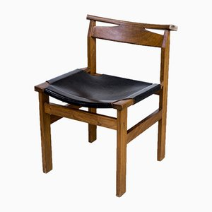 Leather and Oak Dining Chairs, 1960s, Set of 5