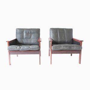 Dänische Mid-Century Capella Stühle aus Leder & Palisander von Illum Wikkelsø für Niels Eilersen, 2er Set