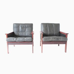 Mid-Century Danish Leather & Rosewood Capella Chairs by Illum Wikkelsø for Niels Eilersen, Set of 2