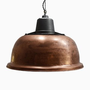 Industrial French Aluminum and Copper Ceiling Lamp from Projelux, 1950s