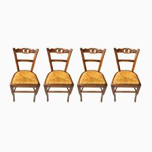Stühle aus Walnussholz, 19. Jh., 4er Set