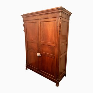 Antique Luigi Filippo Walnut Wardrobe, 1800s