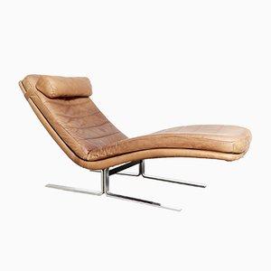Chaise longue in metallo cromato e pelle di Harvey Probber per Brayton International, anni '70