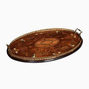 Antikes edwardianisches Tablett aus Messing & Mahagoni