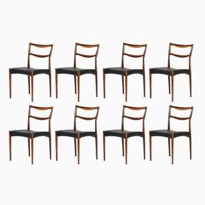 Dänische Modell 223 Esszimmerstühle aus Leder und Palisander von HW Klein für Bramin, 1960er, 8er Set