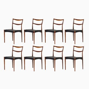 Danish Model 223 Leather and Rosewood Dining Chairs by H.W. Klein for Bramin, 1960s, Set of 8