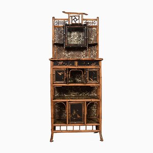 Antique Glass and Bamboo Cabinet