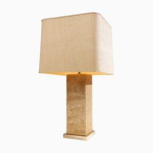 Grande Lampe de Bureau Moderniste en Travertin, France, 1970s