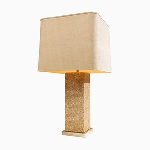 Large Modernist French Travertine Table Lamp, 1970s