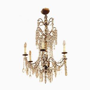 Lámpara de araña estilo Luis XVI dorada, años 60