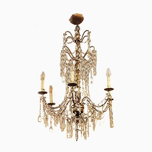Louis XVI Style Gilded Chandelier, 1960s