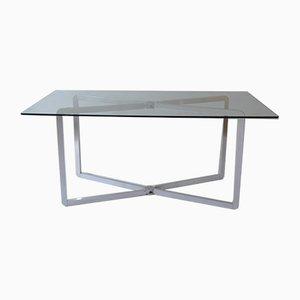 Französischer Esstisch aus eloxiertem Aluminium von Michel Boyer für Rouve, 1970er