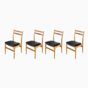 French Leatherette and Oak Dining Chairs, 1970s, Set of 4