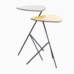 Tavolini in metallo e linoleum di Mathieu Matégot per Artimeta, anni '40, set di 2