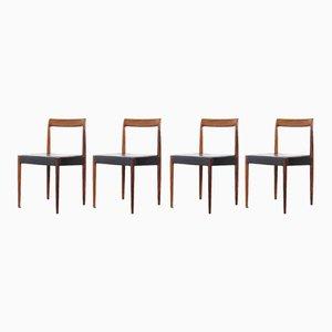 Deutsche Esszimmerstühle aus Leder und Palisander von Lübke, 1960er, 4er Set