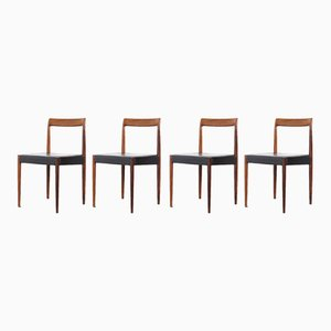 German Leather and Palisander Dining Chairs from Lübke, 1960s, Set of 4