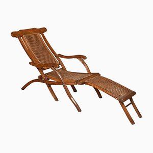 Antique Cane and Walnut Folding Lounge Chair