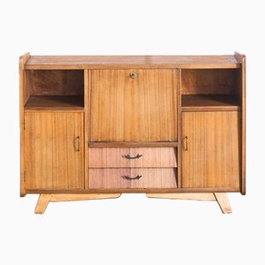 Mid-Century Spanish Wooden Sideboard with Bar Compartment, 1960s