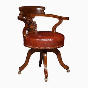 Chaise de Bureau de Capitaine Antique en Acajou