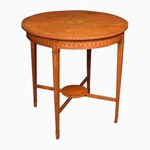 Table Édouardienne Antique en Bois de Satin Incrusté