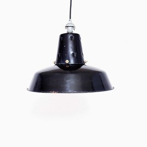 Black Enamel Ceiling Lamp from Lux, 1950s