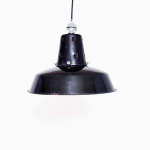 Lampada da soffitto smaltata nera di Lux, anni '50
