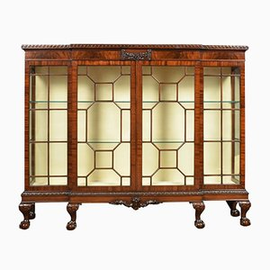 Antique Chippendale Style Mahogany Breakfront Cabinet