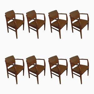 Italienischer Sessel aus Buchenholz & Stoff, 1970er, 8er Set