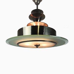Lampada da soffitto Art Deco in vetro inciso e metallo zincato, anni '20