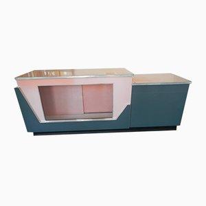 Mesa de bar italiana de aluminio, vidrio y formica, años 50