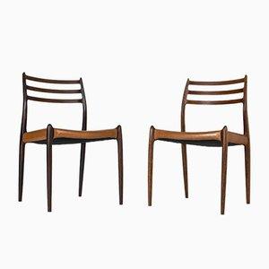 Dänische Esszimmerstühle aus Leder & Palisander von Niels Otto Møller für JL Møllers, 1950er, 8er Set