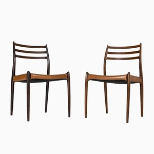 Danish Leather and Rosewood Dining Chairs by Niels Otto Møller for J.L. Møllers, 1950s, Set of 8