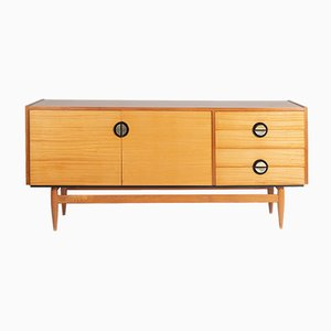 Mid-Century Brass and Spruce Sideboard, 1960s